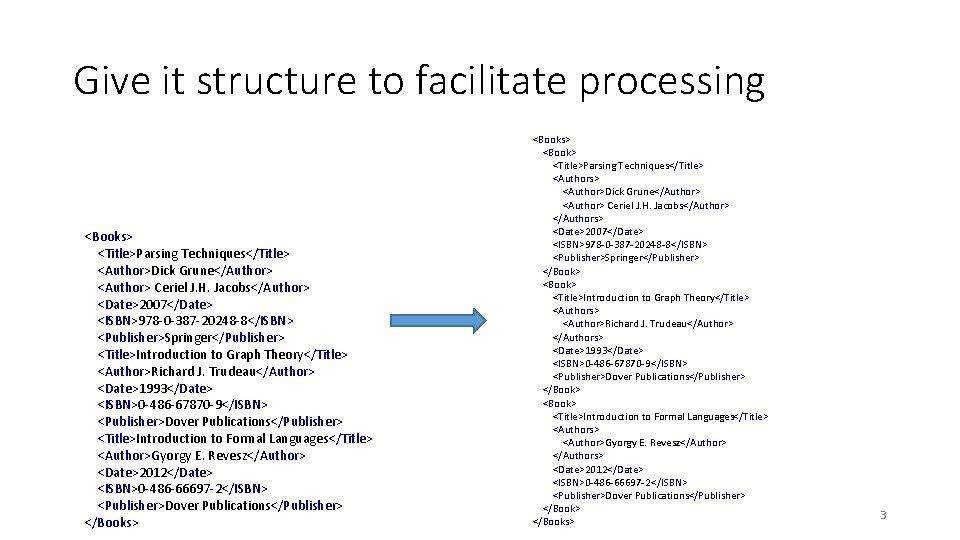Give it structure to facilitate processing <Books> <Title>Parsing Techniques</Title> <Author>Dick Grune</Author> <Author> Ceriel J.