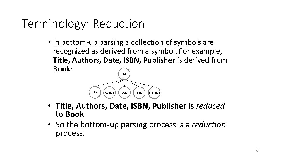 Terminology: Reduction • In bottom-up parsing a collection of symbols are recognized as derived