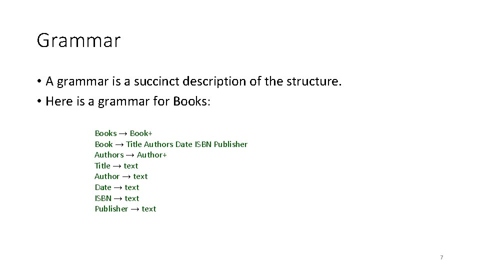 Grammar • A grammar is a succinct description of the structure. • Here is
