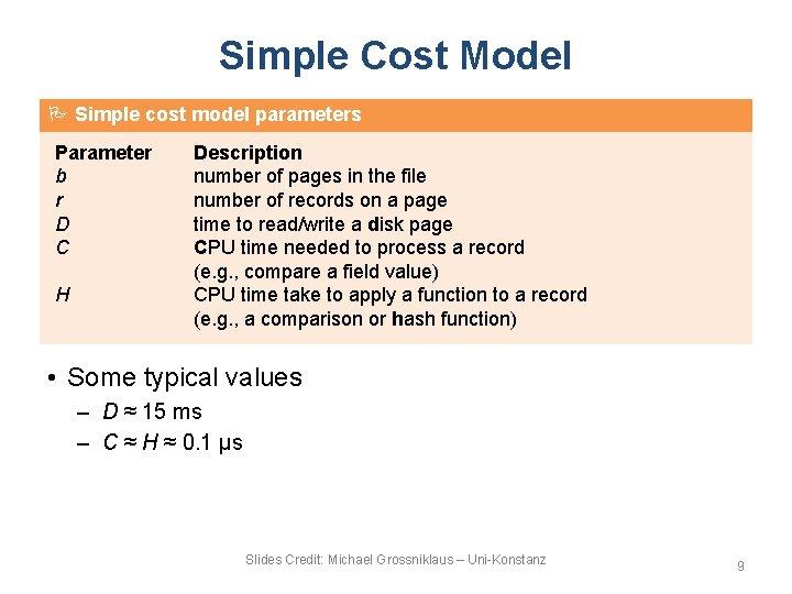 Simple Cost Model Simple cost model parameters Parameter b r D C H Description