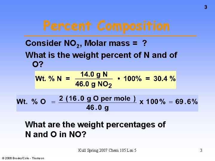 3 Percent Composition Consider NO 2, Molar mass = ? What is the weight