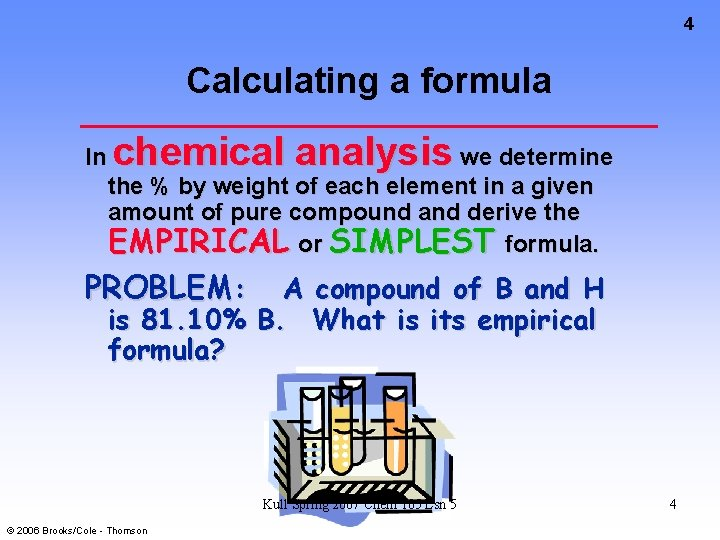 4 Calculating a formula In chemical analysis we determine the % by weight of