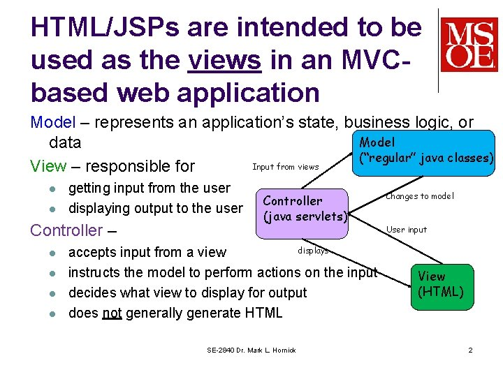 HTML/JSPs are intended to be used as the views in an MVCbased web application