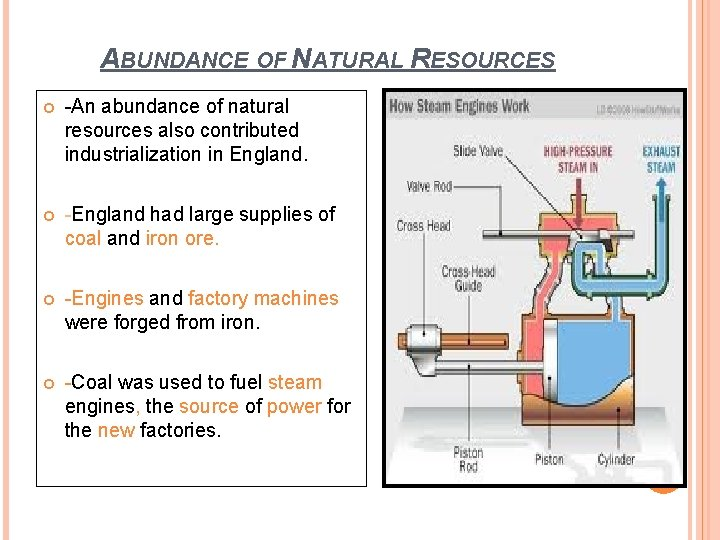 ABUNDANCE OF NATURAL RESOURCES -An abundance of natural resources also contributed industrialization in England.