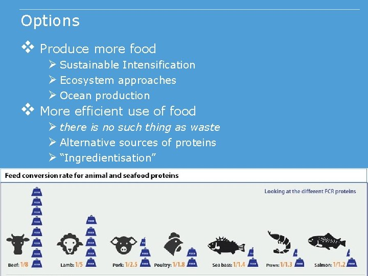 Options v Produce more food v Ø Sustainable Intensification Ø Ecosystem approaches Ø Ocean