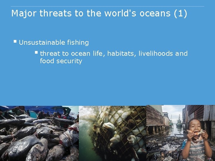 Major threats to the world's oceans (1) § Unsustainable fishing § threat to ocean