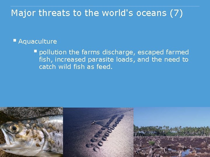 Major threats to the world's oceans (7) § Aquaculture § pollution the farms discharge,