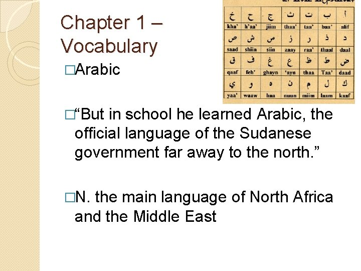 """Chapter 1 – Vocabulary �Arabic �""""But in school he learned Arabic, the official language"""