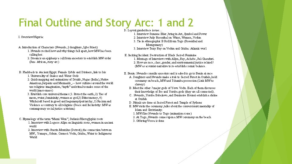 Final Outline and Story Arc: 1 and 2 I. Overview/Nigeria: A. Introduction of Characters