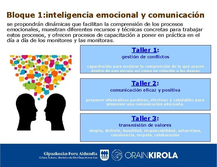 Bloque 1: inteligencia emocional y comunicación se propondrán dinámicas que facilitan la comprensión de