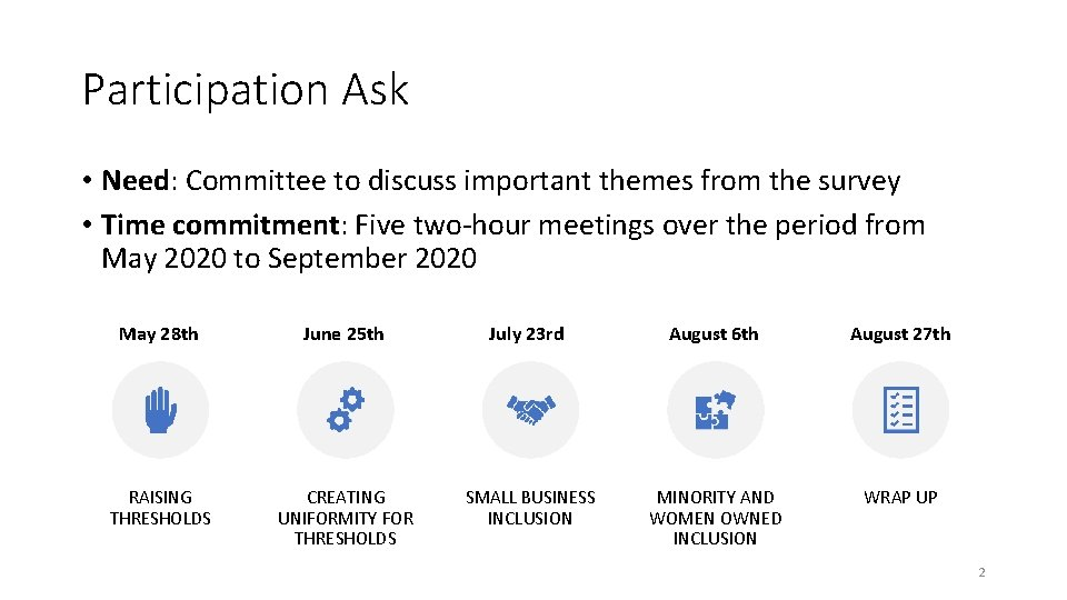 Participation Ask • Need: Committee to discuss important themes from the survey • Time