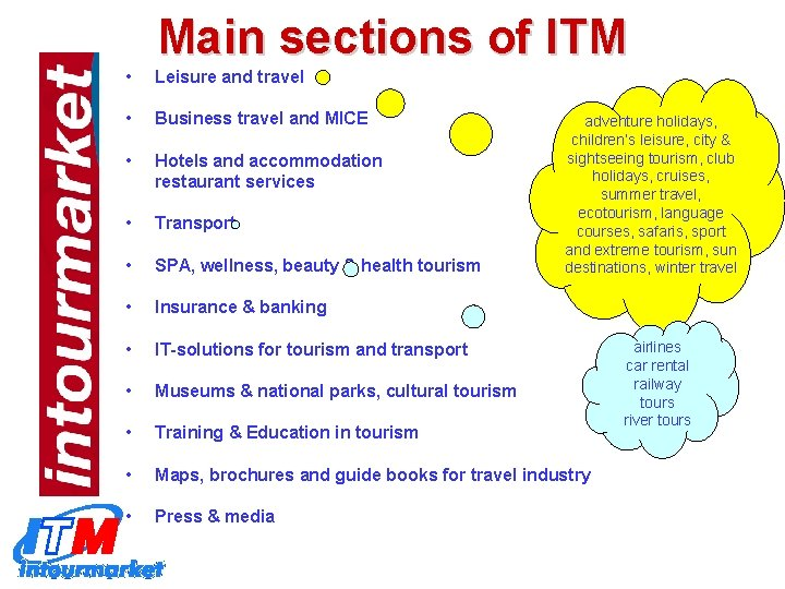 Main sections of ITM • Leisure and travel • Business travel and MICE •