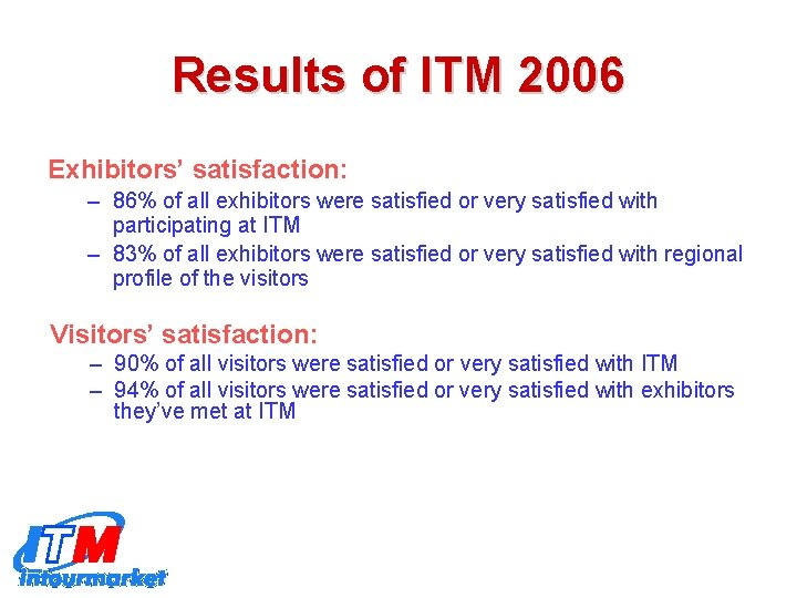 Results of ITM 2006 Exhibitors' satisfaction: – 86% of all exhibitors were satisfied or