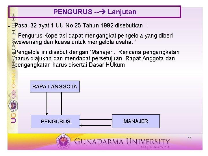PENGURUS -- Lanjutan Pasal 32 ayat 1 UU No 25 Tahun 1992 disebutkan :
