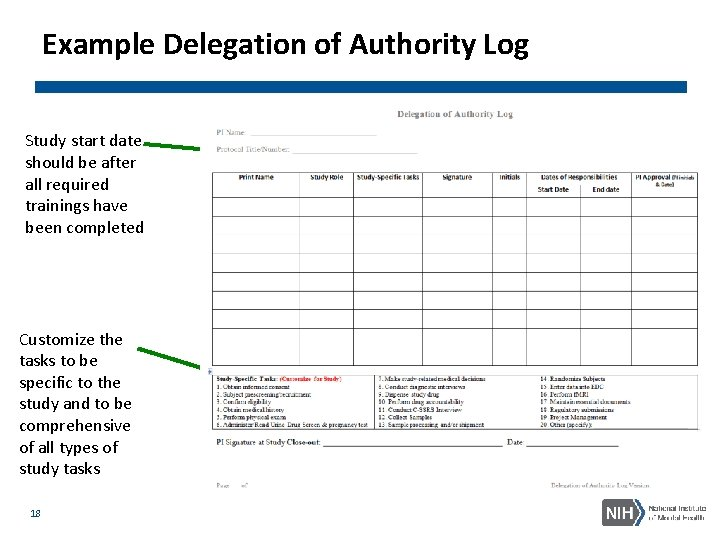 Example Delegation of Authority Log Study start date should be after all required trainings