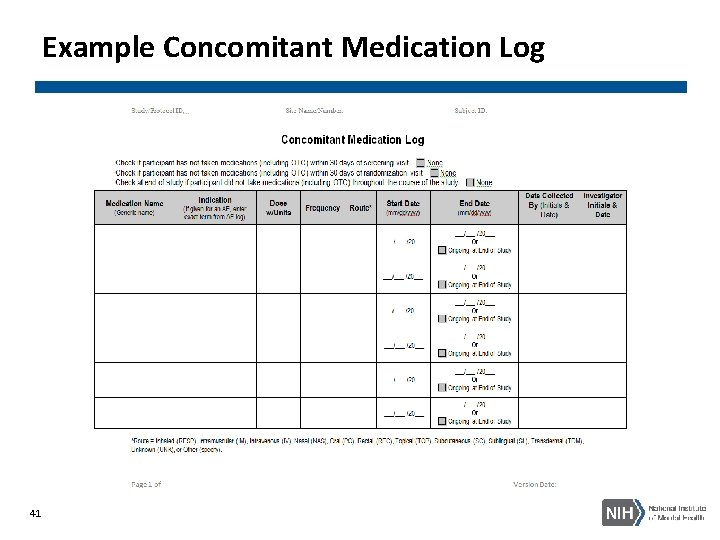 Example Concomitant Medication Log 41