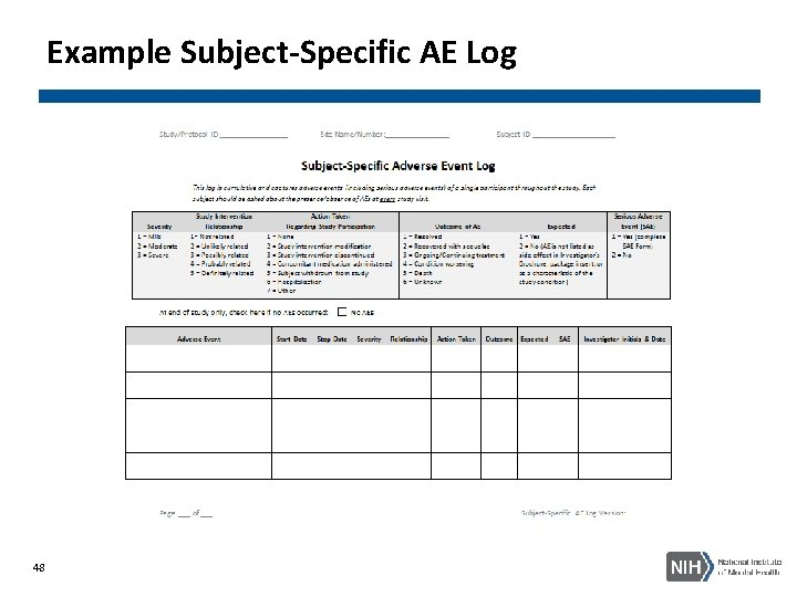 Example Subject-Specific AE Log 48