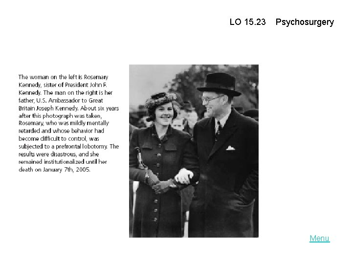 LO 15. 23 Psychosurgery Menu