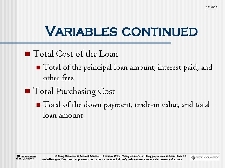 1. 16. 3. G 2 Variables continued n Total Cost of the Loan n