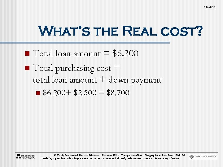 1. 16. 3. G 2 What's the Real cost? Total loan amount = $6,