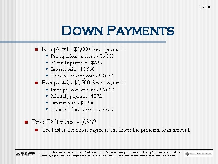 1. 16. 3. G 2 Down Payments n Example #1 - $1, 000 down