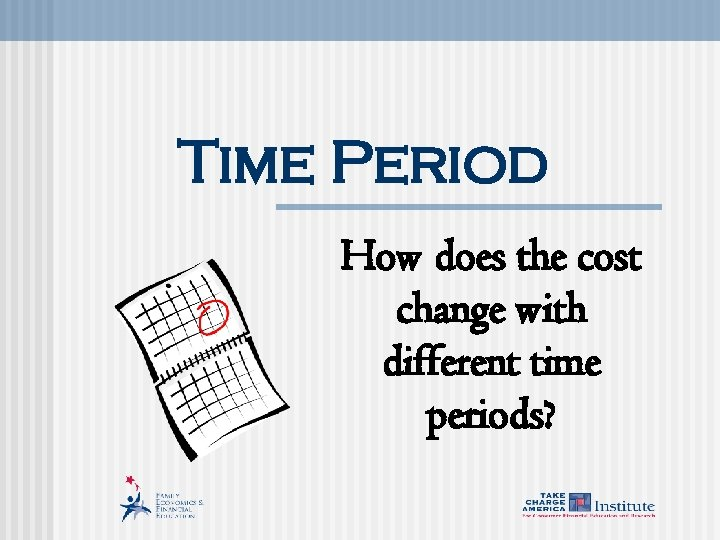 Time Period How does the cost change with different time periods?