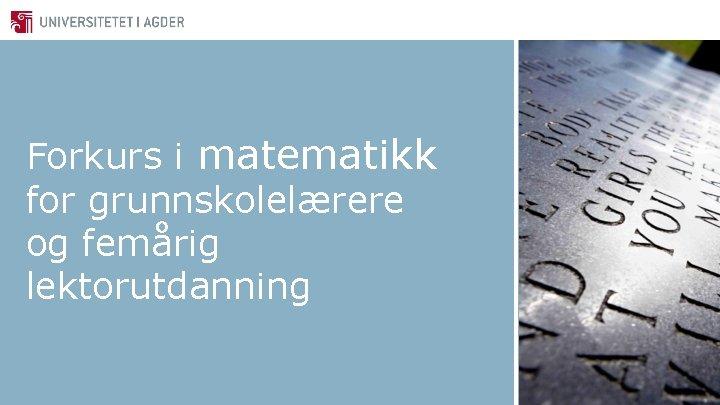 Forkurs i matematikk for grunnskolelærere og femårig lektorutdanning