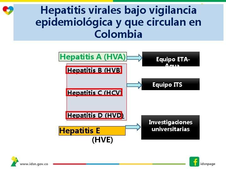 Hepatitis virales bajo vigilancia epidemiológica y que circulan en Colombia Hepatitis A (HVA) Hepatitis