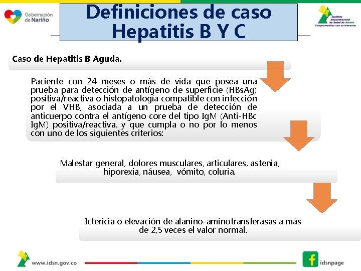 Definiciones de caso Hepatitis B Y C Caso de Hepatitis B Aguda. DEFINICIONES DE