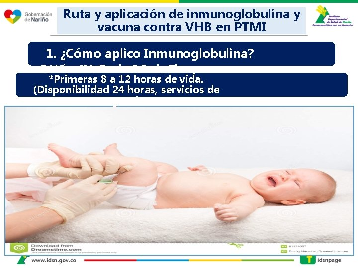 Ruta y aplicación de inmunoglobulina y vacuna contra VHB en PTMI 1. ¿Cómo aplico
