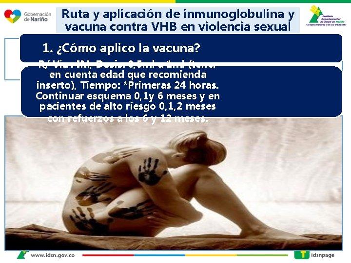 Ruta y aplicación de inmunoglobulina y vacuna contra VHB en violencia sexual 1. ¿Cómo