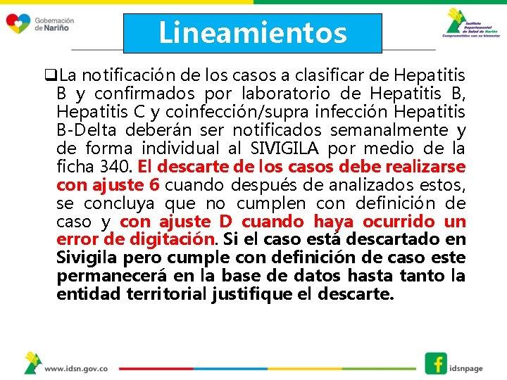 Lineamientos q. La notificación de los casos a clasificar de Hepatitis B y confirmados