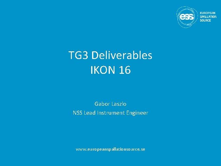 TG 3 Deliverables IKON 16 Gabor Laszlo NSS Lead Instrument Engineer www. europeanspallationsource. se