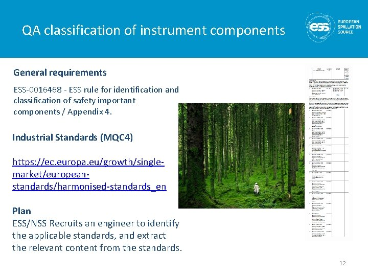 QA classification of instrument components General requirements ESS-0016468 - ESS rule for identification and