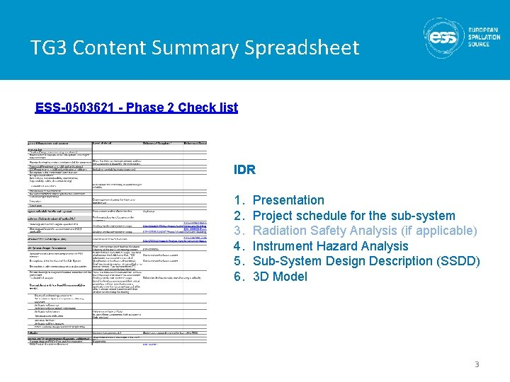 TG 3 Content Summary Spreadsheet ESS-0503621 - Phase 2 Check list IDR 1. 2.