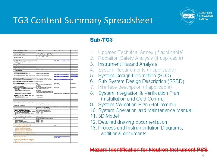 TG 3 Content Summary Spreadsheet Sub-TG 3 1. 2. 3. 4. 5. 6. 7.