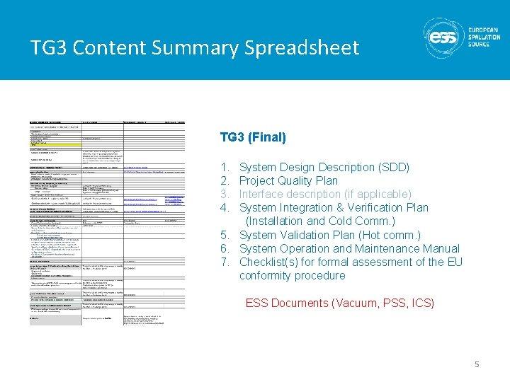 TG 3 Content Summary Spreadsheet TG 3 (Final) 1. 2. 3. 4. System Design