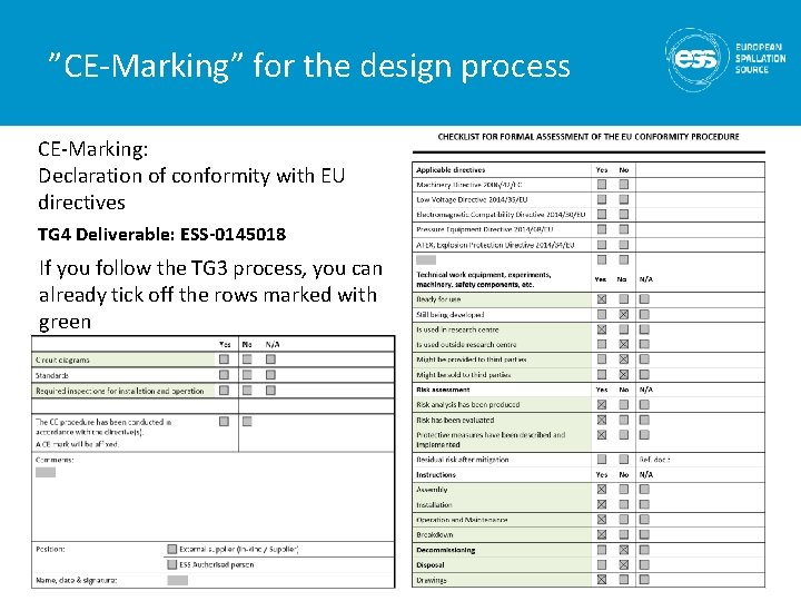 """""""CE-Marking"""" for the design process CE-Marking: Declaration of conformity with EU directives TG 4"""