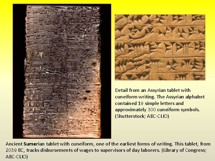 Detail from an Assyrian tablet with cuneiform writing. The Assyrian alphabet contained 19 simple