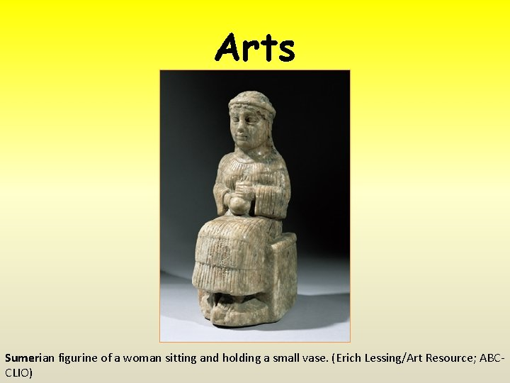 Arts Sumerian figurine of a woman sitting and holding a small vase. (Erich Lessing/Art