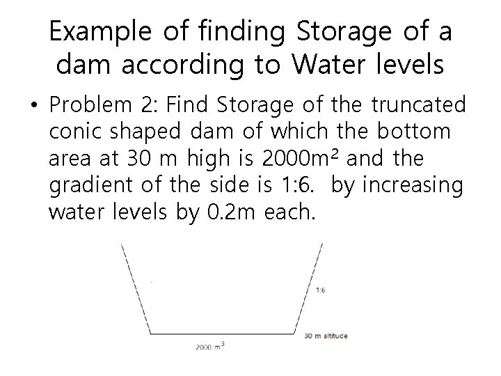 Example of finding Storage of a dam according to Water levels • Problem 2: