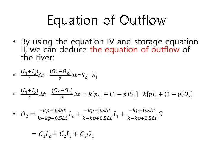 Equation of Outflow •