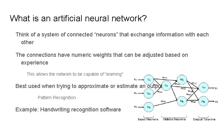 """What is an artificial neural network? Think of a system of connected """"neurons"""" that"""