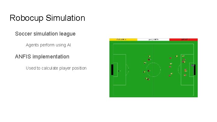 Robocup Simulation Soccer simulation league Agents perform using AI ANFIS implementation Used to calculate