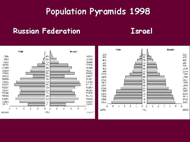 Population Pyramids 1998 Russian Federation Israel