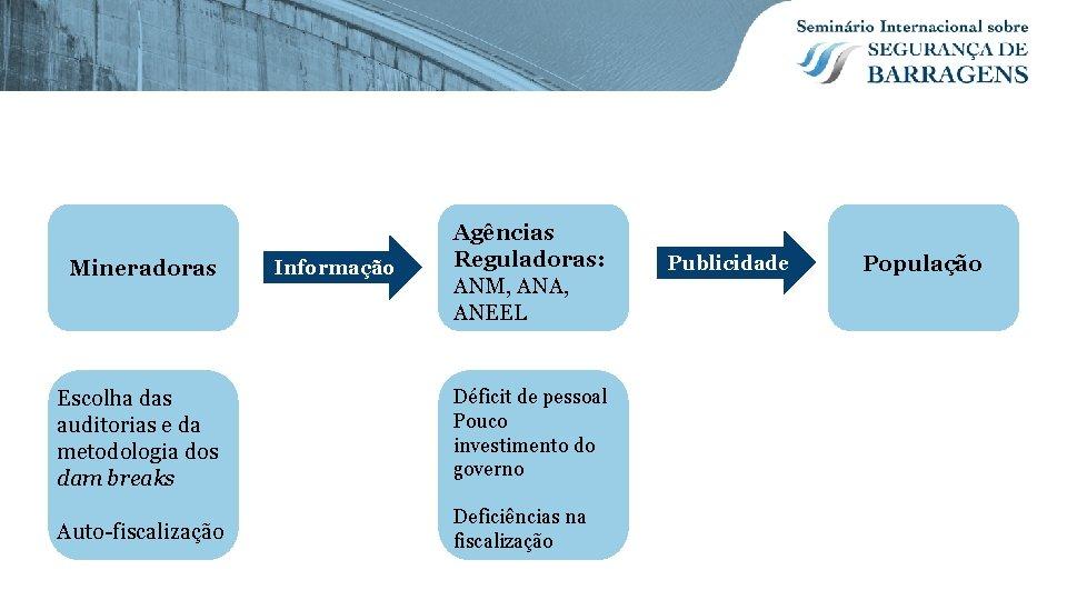 Mineradoras Informação Agências Reguladoras: ANM, ANA, ANEEL Escolha das auditorias e da metodologia dos
