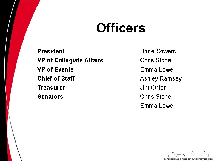 Officers President Dane Sowers VP of Collegiate Affairs Chris Stone VP of Events Emma