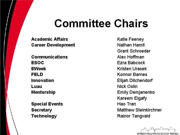 Committee Chairs Academic Affairs Career Development Communications ESOC EWeek FELD Innovation Luau Mentorship Special
