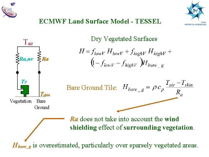 ECMWF Land Surface Model - TESSEL Dry Vegetated Surfaces Ra, nv Ra Tc Tskin