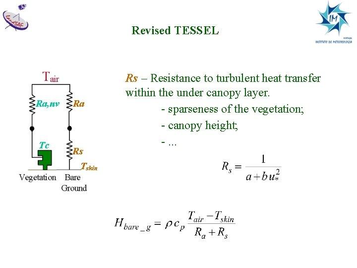 Revised TESSEL Ra, nv Tc Ra Rs Tskin Rs – Resistance to turbulent heat